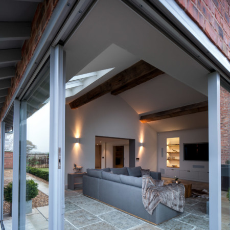 Sky-frame sliding doors and X-Frame GRP windows.